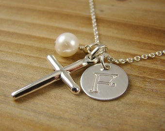 Personalized Cross Initial Necklace, Confirmation Gift, Sterling Silver Cross Pendant, Communion Gift R005