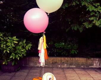 Round balloon & 1m waxed (waterproof) tassels, garland, Wedding party- wedding decoration -bridal -shower - wedding balloons - photoshoot