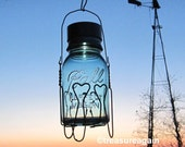 Hanging Basket Solar Ball Jar  Vintage Blue Mason Jar Outdoor Glass Solar Lamp, Wire Heart Basket Holder, Home & Garden Nights