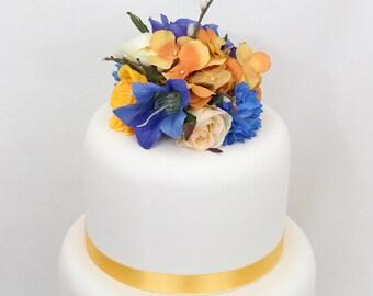 Wedding Cake Topper- Blue, Yellow Rose, Hydrangea Silk Flower Wedding Cake Topper, Wedding Cake Flowers, Flower Cake Topper