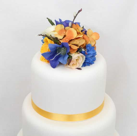 wedding cake fondant flower toppers wedding cake topper blue yellow hydrangea silk flower 22689