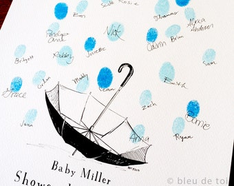 Baby Shower Umbrella with Thumbprint Raindrops, Guest book fingerprint alternative art (with 1 ink pad)