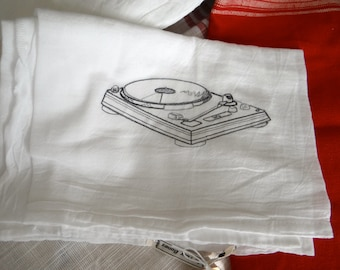 Record Player Turntable Embroidered Flour Sack Towel InYourBones