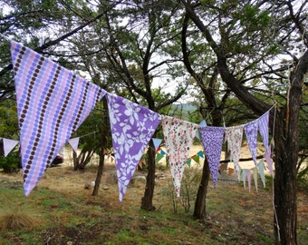 Shades of Lavender Pink Peach and chocolate Fabric Garland, Bunting Banner Pennants Flags  by InYourBones