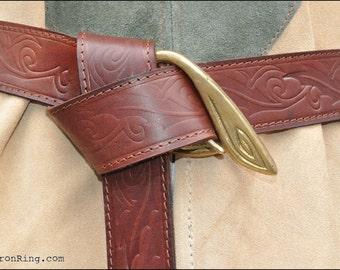 Elven stamped with leaf motif Belt with Leaf brass Buckle