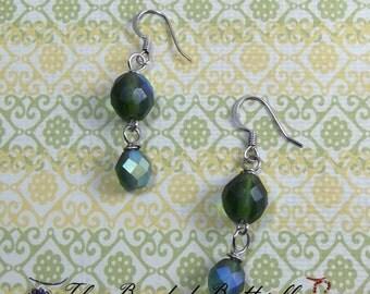 Green Aurora Borealis Earrings, Iridescent Green Czech Glass Earrings, Green and Silver Earrings, Dangle Earrings, CE-4