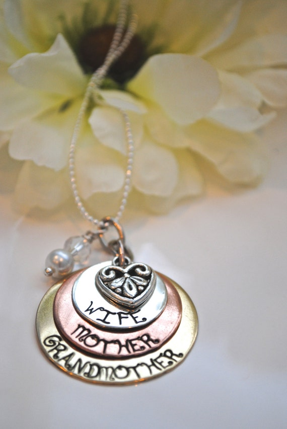 Hand Stamped Wife Mother Grandmother Custom Necklace Grandma-Grandmother necklace Mixed Metal