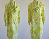 Vintage Neon Floral Dress -- 60s 70s Retro Dress -- Green & Yellow Secretary Shift Dress -- Large