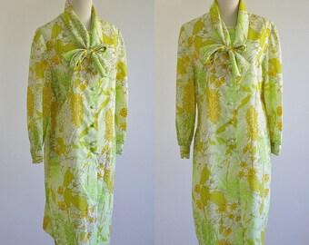 Vintage Neon Floral Dress -- 60s 70s Retro Dress -- Green & Yellow Secretary Shift Dress -- Large