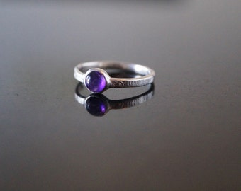 Amethyst cabochon ring hand made in anti tarnish silver ready to ship
