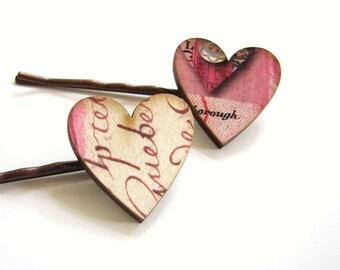 pink & cursive heart hair clip set - 2 bobby pins jewelry / hair accessories