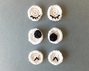 Eyes applique for DIY projects - eyeballs applique - eyes embellishments - crocheted eyes applique - cotton eyeballs  ~0.8 inches
