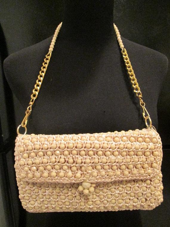 Natural Raffia Beaded Handbag Clutch