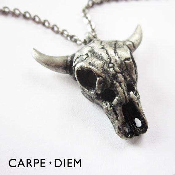 silver cow skull necklace unique antique oxidized mens