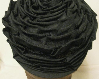 Vintage 1960s Pleated Black Rose Pillbox Hat Evelyn Original