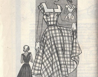 Vintage Sewing Pattern Teen Age 1950s Dress Marian Martin Size 16 Rockabilly Retro Circle Skirt