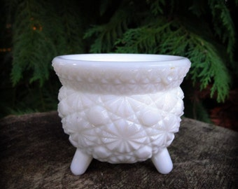 Let's sit a spell  - Mini vintage milk glass cauldron candle holder - kitchen witch - perfect for altar or fireplace mantle.