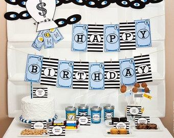 COPS and ROBBERS Collection : DIY Printable Police Officer and Detective Birthday Decorations