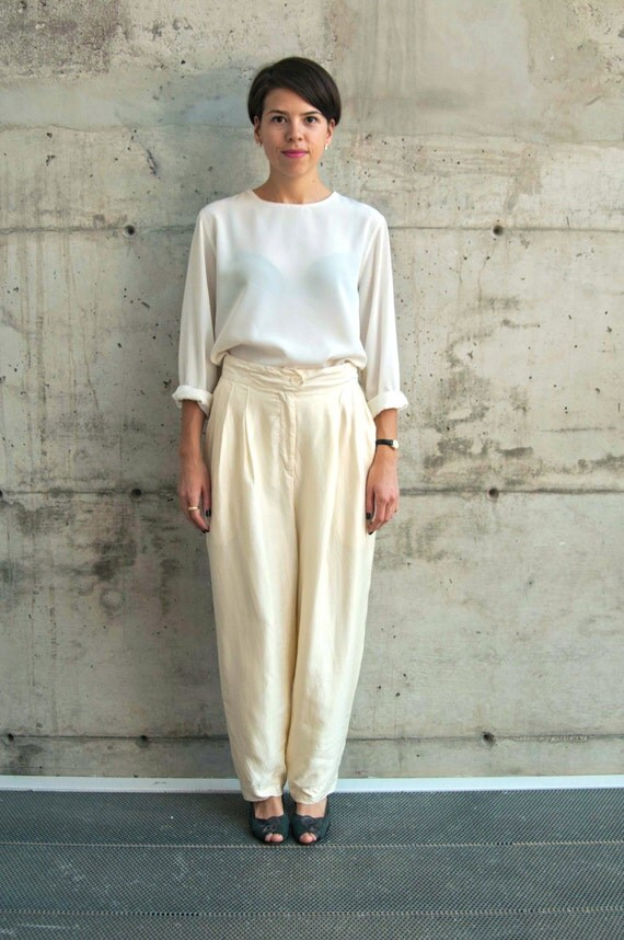 Silk Beige Pants / High Waisted Pleated Pants / Vintage Wide