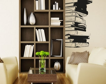 Vinyl Wall Decal Sticker Stack of Books 5062s