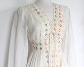SOLD in store dec 17 Vintage 1960's Dreamy Peasant Dress With Rainbow Embroidered Detailing