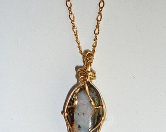 Wire Wrapped Natural Pink & White Boulder Opal Necklace 14K Rolled Gold