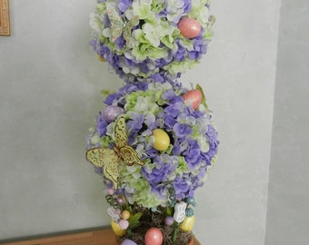 SALE Easter Topiary Tree of lavender and  light green hydrangeas Easter eggs, butterflies, bunnies