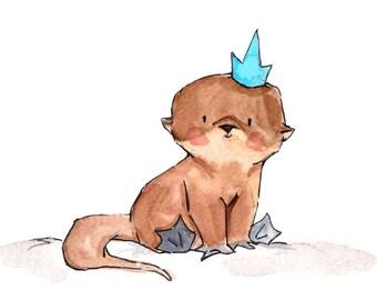 Royal Otter Pup  -- Nursery Art Print, New Baby, Girl, Boy