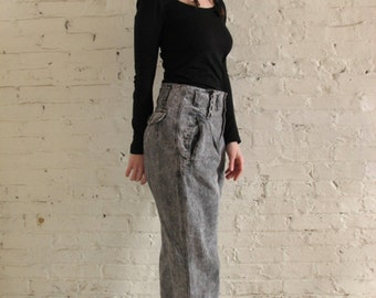 SALE // GET! INTERNATIONAL Black Stonewashed Pleated Pants