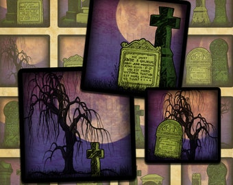"Haunted Cemetery Halloween Digital Collage Sheet 1"" Squares Inchies- Instant Download"