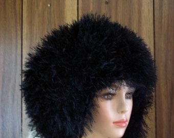 Faux Fur Knit Hat for Women- Russian Cossack Hat-  Fur Earflap Cap