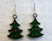 Christmas Tree Earrings, Red and Green, Holiday Earrings, Festive Earrings, Winter Earrings, Teen Earrings, Teen Jewelry