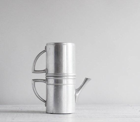 Vintage Espresso Pot / Two-Tier Aluminum Italian