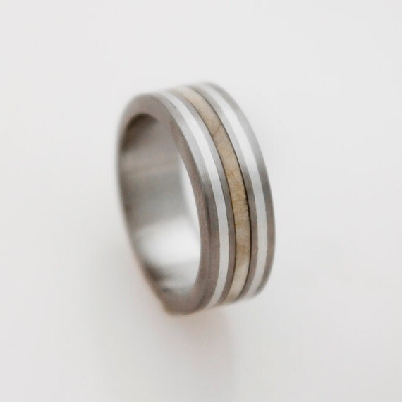 mens wood wedding band with titanium ring silver inlay. Black Bedroom Furniture Sets. Home Design Ideas