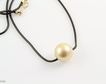 Black Stainless Steel Chain with Large Yellow South Sea Pearl Necklace Pendant, 14 karat, AC0888 by ashley childs