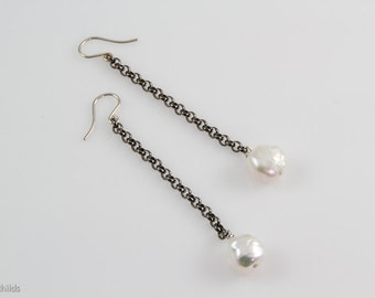 Gunmetal Chain with Baroque Pearl Detail Earrings, AC0963-SS, by Ashley Childs
