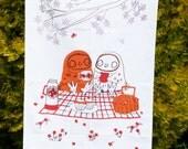 Tea Towel 'Tea For Twit-Twoo' Kitchen Screen Printed Linen Union Tea Towel