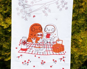 Tea Towel For Twit Twoo Kitchen Screen Printed Linen Union