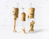 Set of 3 Raccoon Bones in Corked Vials - Taxidermy Collectibles - Glass Vial Cork Brown Paper Tag With Pin - Natural History Nature Item