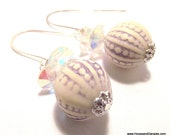 Handcrafted Costume Jewelry Violet Tulip Clear Aurora Borealis Beaded Dangle Earrings