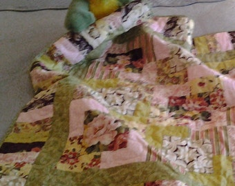 Floral Fantasy Baby Quilt in Pink, Yellow, Green & Brown