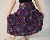 Vintage 70s Floral Skirt, Indigo Blue Print