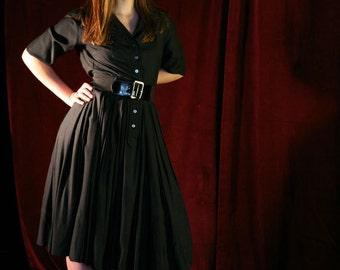 Vintage 50s Black Dress: New Look Shirtwaist LBD