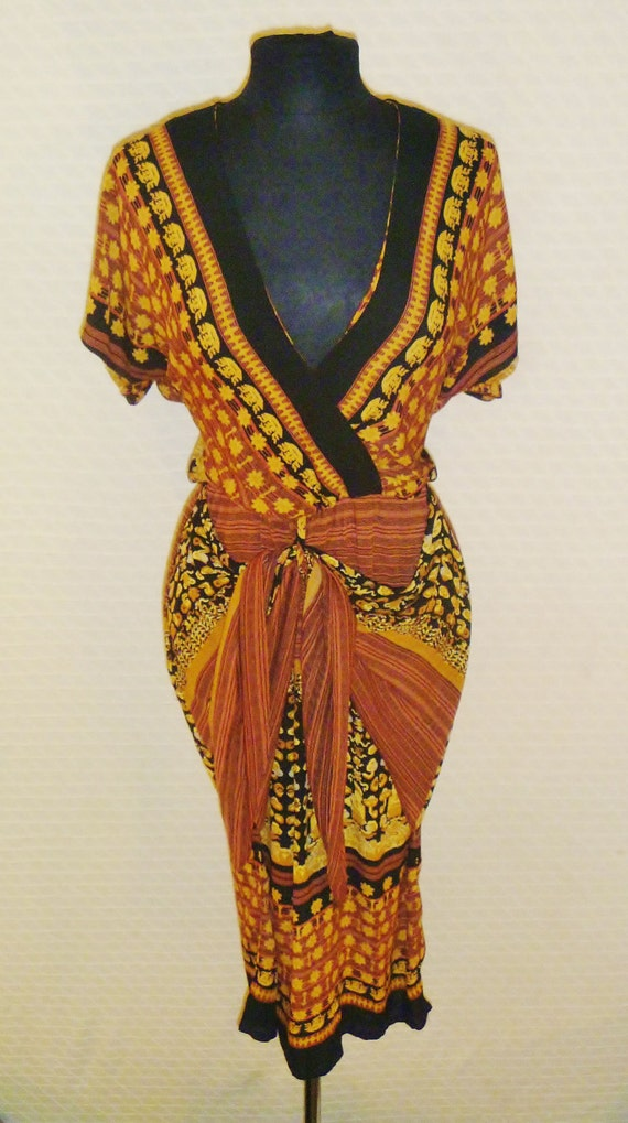 vintage 80 u0026 39 s african printed wrap dress with crimped rayon
