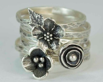 Sterling Flower Rings, Pod Poppy Forget Me Not Rings, Anemone, Metalsmith Jewelry