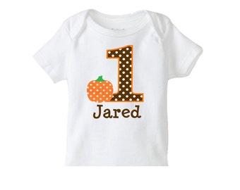 Fall Pumpkin Personalized Tshirt or Bodysuit 1st Halloween Birthday Shirt