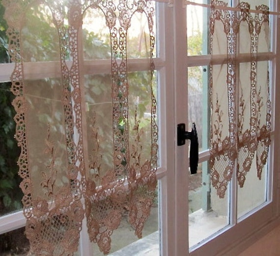 Lace Kitchen Curtains, Mocha Brown Lace Brise Bise, Cafe Curtains, French Lace  Curtains