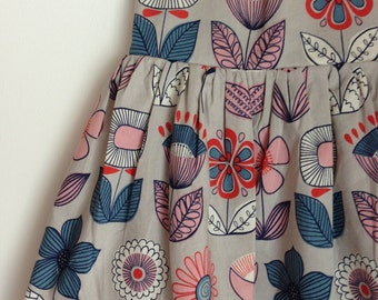 The Rosie Dress in Gray Flowers Toddler Girls Dress Ready to Ship 4T