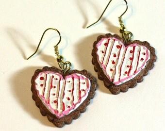 Valentine Heart Earrings - Repurposed Ornaments - Clay Earrings - Fashion Earrings - Cookie Themed Earrings - Pink Red White Heart