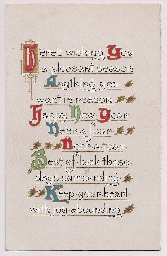 Antique Happy New Year Greeting Calendar Postcard Size Card